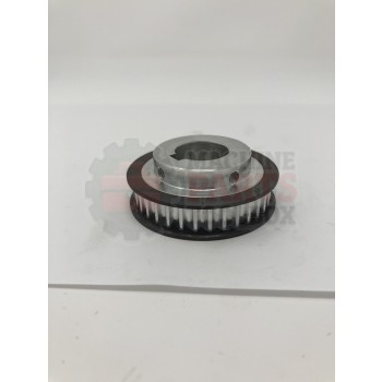 Lantech - Pulley Belt Timing HTD 34T 5mm 10mm Wide 20mm Bore 6mm Key W/ Stainless Steel Flanges - 30219947