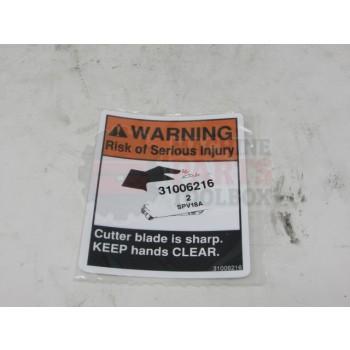 Lantech - Label Warning 'Cutter Blade Is Sharp' - 31006216