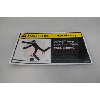 Lantech - Label Caution 'Do Not Step Over Film Clamps.' - 31006337