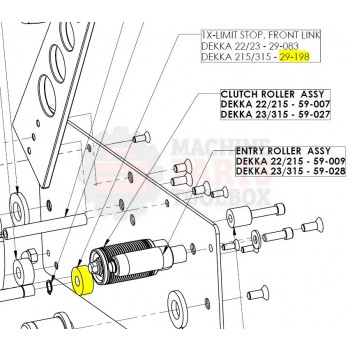 Dekka - Stopper, Front Link, 215/315 - 29-198, Z29-198 - Tape Head Parts - Machine Parts Toolbox