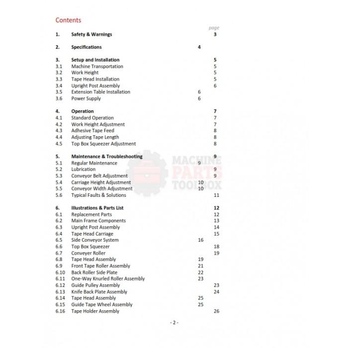 Eagle - T100 Carton Sealer - Manual and Parts Drawings