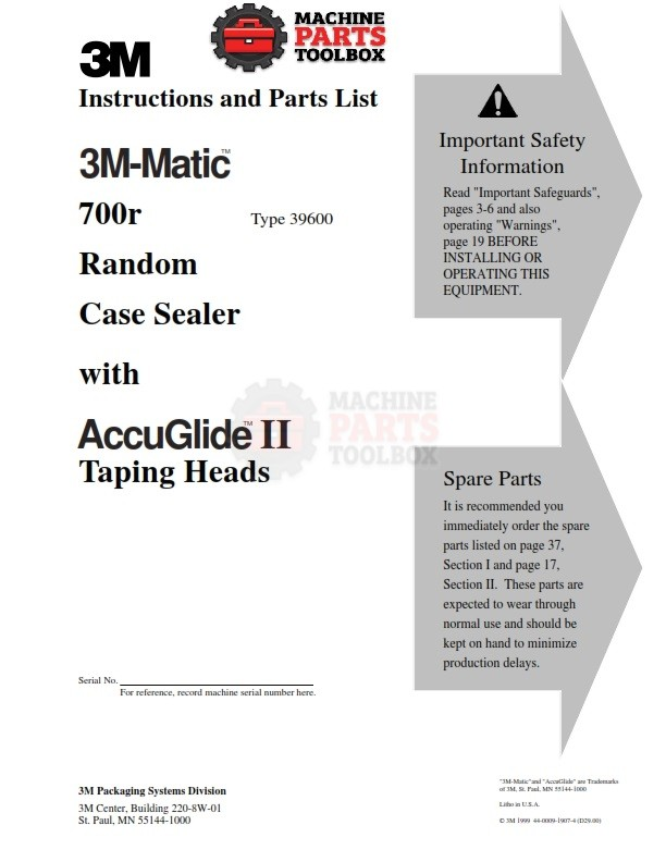 3M - 3M-Matic 700r Random Case Sealer with AccuGlide II Taping Heads -  Manual and Parts Drawings