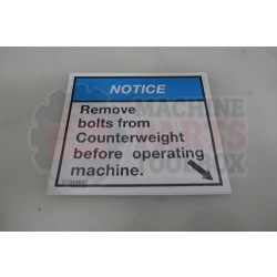 """Lantech - Label Notice 'Remove Bolts From Counter Weight' (Right Hand) (Size = 3.44 X  3.06) - 30049601"""